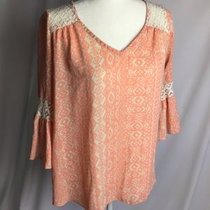 rue21 | Boho Style Bell Sleeve Lace Inset Top